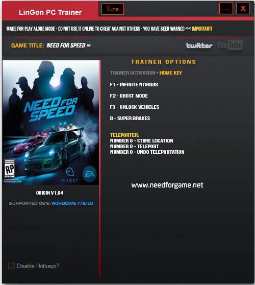 Need for Speed 2015 Hileleri Trainer